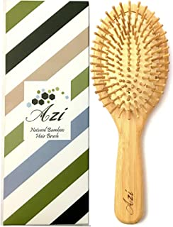Azi Natural Bamboo Oval Paddle Hair Brush NO STATIC De-tangling Scalp Massager Promotes Healthy Hair & Scalp Naturally Fig...