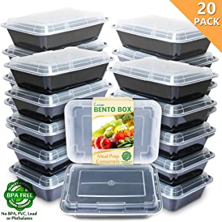 Enther Meal Prep Containers [20 Pack] Single 1 Compartment with Lids, Food Storage Bento Box | BPA Free | Stackable | Reusable Lunch Boxes, Microwave/Dishwasher/Freezer Safe,Portion Control (28 oz)