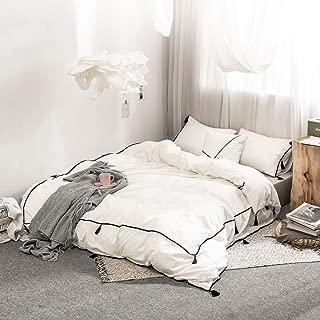 SANMADROLA Duvet Cover Twin 100% Cotton Bedding Duvet Cover Set SJT02-white-twin