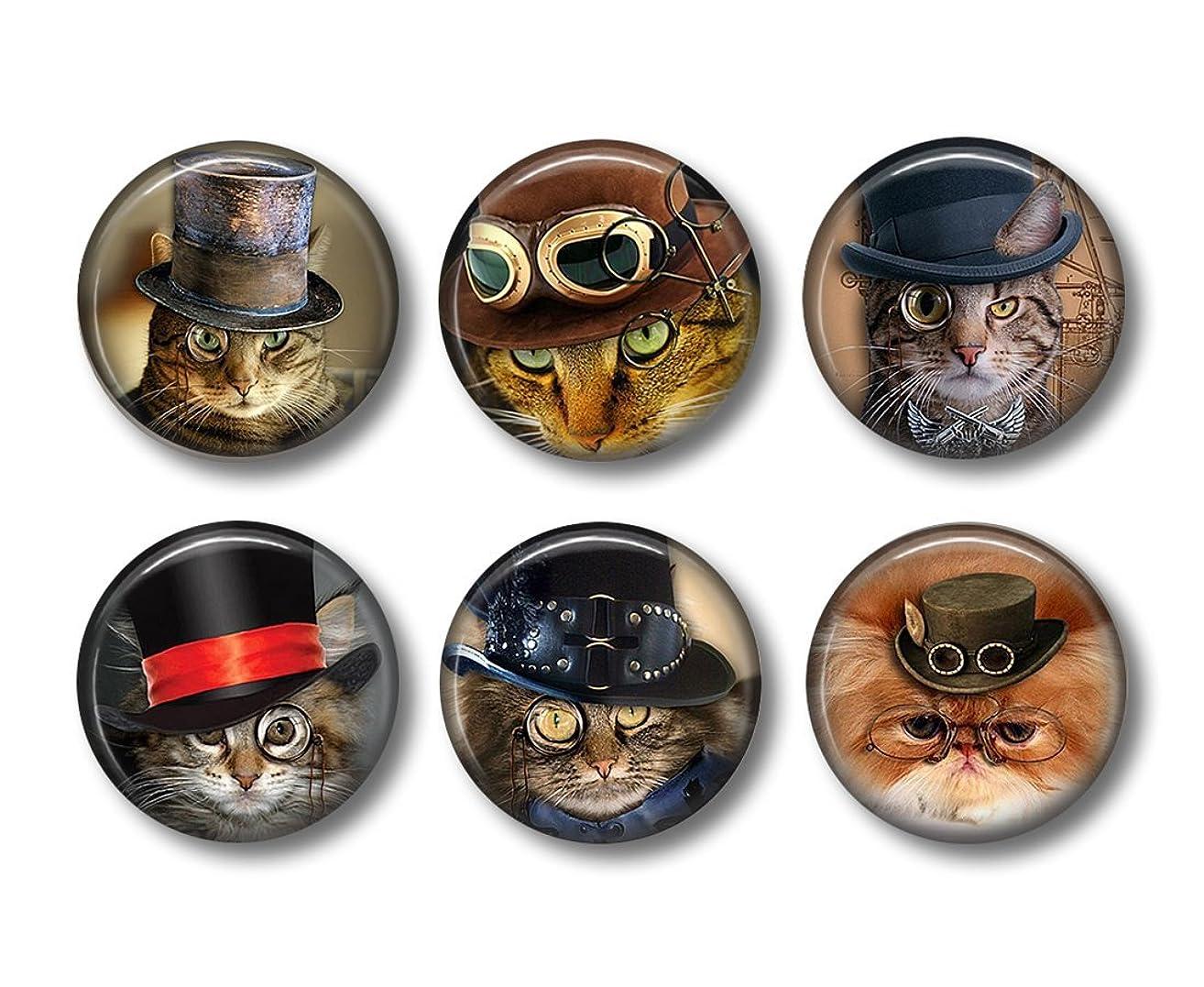 Steampunk Cats - Fridge Magnets - Cat Magnets - 6 Magnets - Steampunk Magnets - 1.5 Inch Magnets - Kitchen Magnets