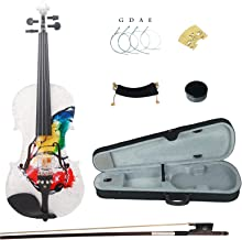 Kinglos 4/4 Butterfly Flower Colored Ebony Fitted Solid Wood Violin Kit with Case, Shoulder Rest, Bow, Rosin, Extra Bridge and Strings Full Size (NHS3002)