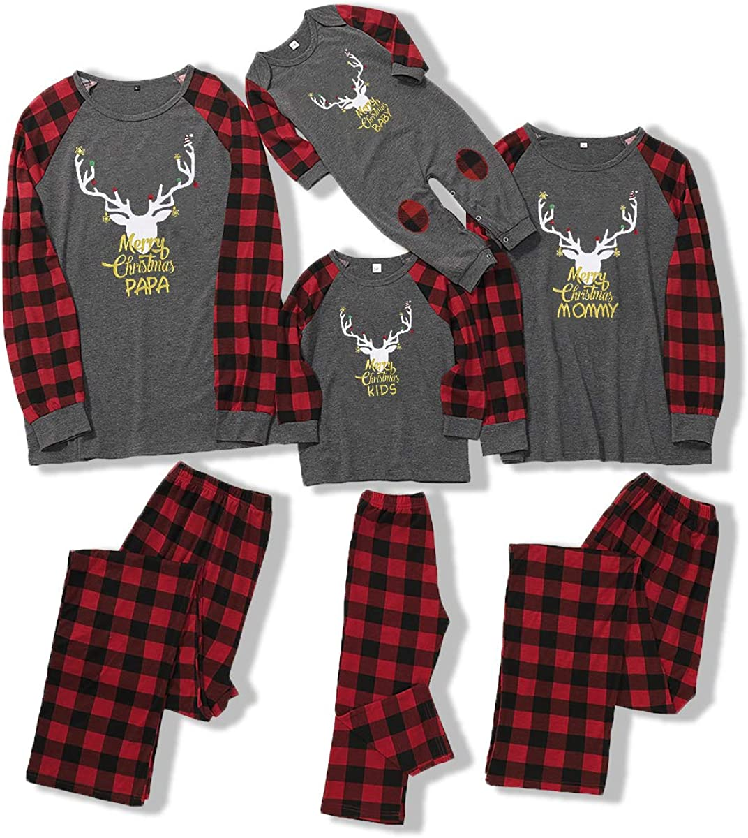 SOONHUA Family Christmas Matching Outfits Elk Plaid Nightwear Xmas Pajamas Set for Women Men Kid Baby Christmas Pajamas