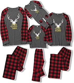 Petyoung Family Christmas Matching Outfits, Elk Plaid Nightwear Xmas Pajamas Set for Women Men Kid Baby