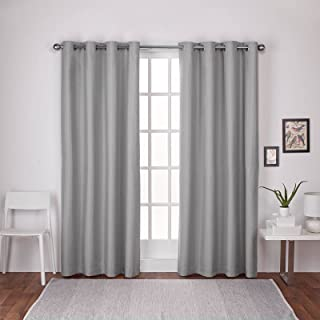 Exclusive Home London Textured Linen Thermal Window Curtain Panel Pair with Grommet Top, Dove Grey, 52x108, 2 Piece