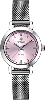 WWOOR Women's Ultra Thin Mesh Band Stainless Steel Ladies Elite Sports Wrist Watch Pink