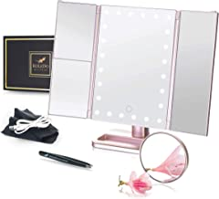 RoLeDo Makeup Vanity Mirror with 24 Led Lights, Lighted Trifold Make up Mirrors with Set Gift, 2X3X10X Magnification, Bright Touch Screen USB or Battery 180 Rotation Portable for Travel (Rose Gold)