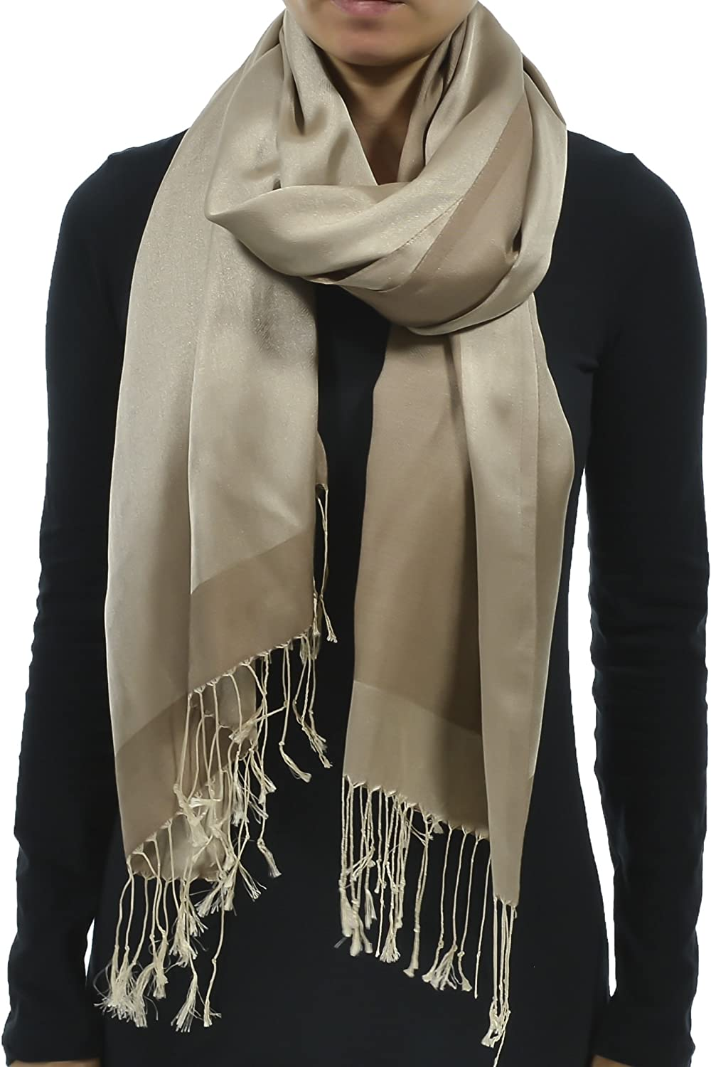 Hand By Hand Aprileo Women's Solid Silk Feel Scarf Wrap Shawl Thin Reversible
