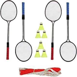 ZoraX Double Shaft Iron Body Complete Badminton Racquet Kit for Indoor and Outdoor Playing