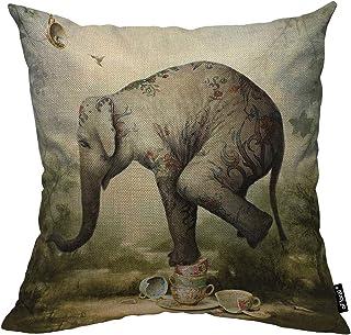 oFloral Elephant Throw Pillow Cover Animal Decorative Pillow Case Cotton Linen Cushion..