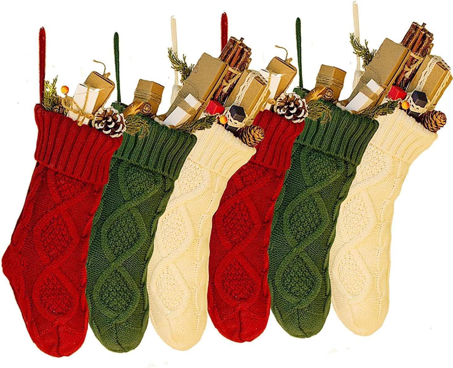 JBNEG 6 PCS 15'' Knit Woven Christmas Department Ranking TOP10 store Stockings Christ