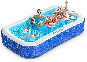 Hyvigor Planschbecken, 300  180  50cm Pool Rechteckig für Kinder mit 2 Bälle, Schwimmbecken mit Aufbewahrungstasche, Schwimmbad Groß für Baby, Erwachsene, Outdoor, Garten