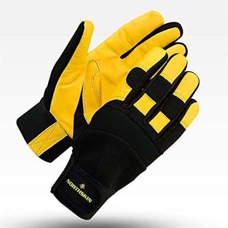 Gardening Gloves Thorn Proof Breathable Heavy Duty Utility Leather Work Gloves for Garden Safety Lawn Men Women (Large)