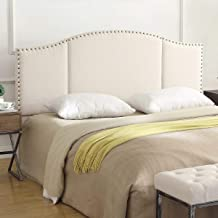 24KF Middle Century Linen Upholstered Tufted Headboard with Copper Nails Queen/Full headboard -Ivory