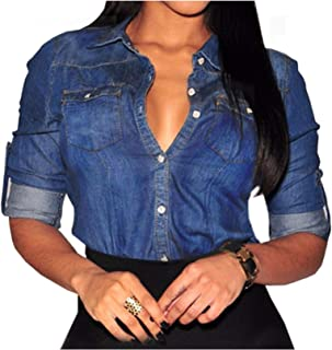 Sexyshine Women's Long Sleeve Fitted Classic Button Down Denim Slim Blouse Shirt Office Lapel Tops