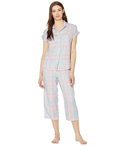 LAUREN Ralph Lauren Twill Woven Short Sleeve Dolman His Shirt Capri Pants Pajama Set (Multi Plaid) Women