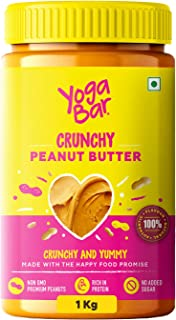 Yogabar Crunchy Peanut Butter | Sweet, Salty and Crunchy | Non GMO Peanut Butter| Rich in Protein - 1Kg