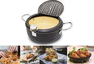 Cyrder Japanese Tempura Deep Fryer Pot with Thermometer and lid 8