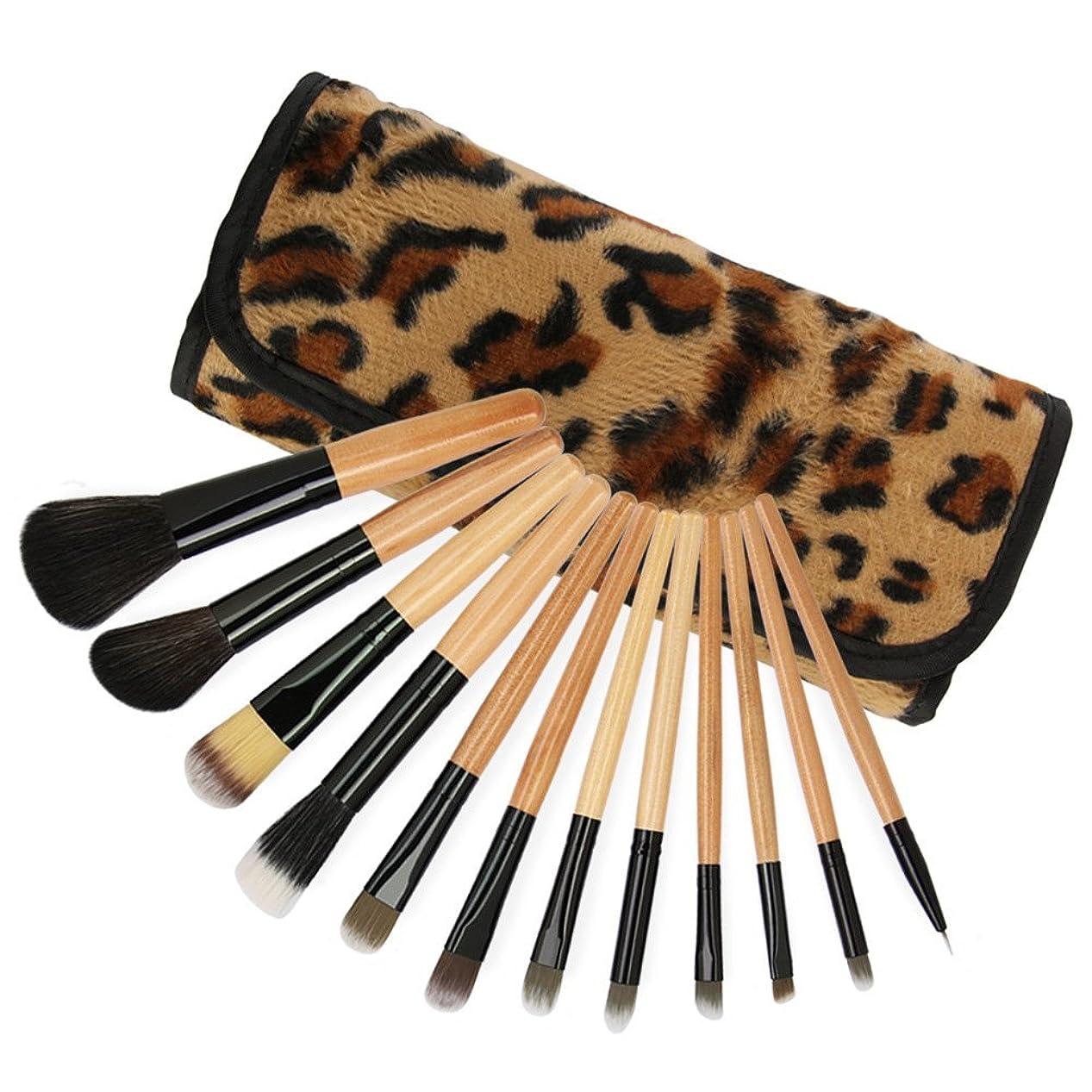 偽善カバーのスコア12個のメイクブラシセット化粧品ブラシツール柔らかいナイロンの髪の木製のハンドルアイシャドーアイライナーの唇ブレンドビューティーとヒョウホルダーバッグ