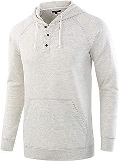 Men's Casual Long Sleeve Henley Sweatshirt Knit Fleece Hoodie Pullover