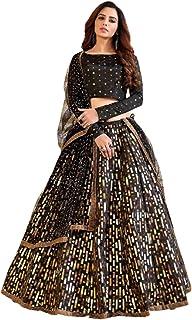 Indian Black Girlish Party Festival Pigment Foil Work taffeta Silk Skirt Top Set Lehenga Choli Dupatta 6312 2