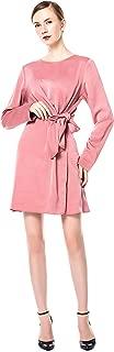 Women Fashion Pink Long Sleeve Crewneck Dresses Casual Long Dresses Bowknot