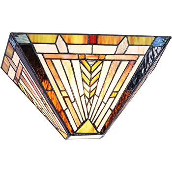 Amazon Com Cotoss Tiffany Wall Sconce Tiffany Wall Lights Stained Glass Sconces Wall Lighting Mission Style Wall Light Fixtures 12 Hand Crafted Indoor Sconce Home Improvement