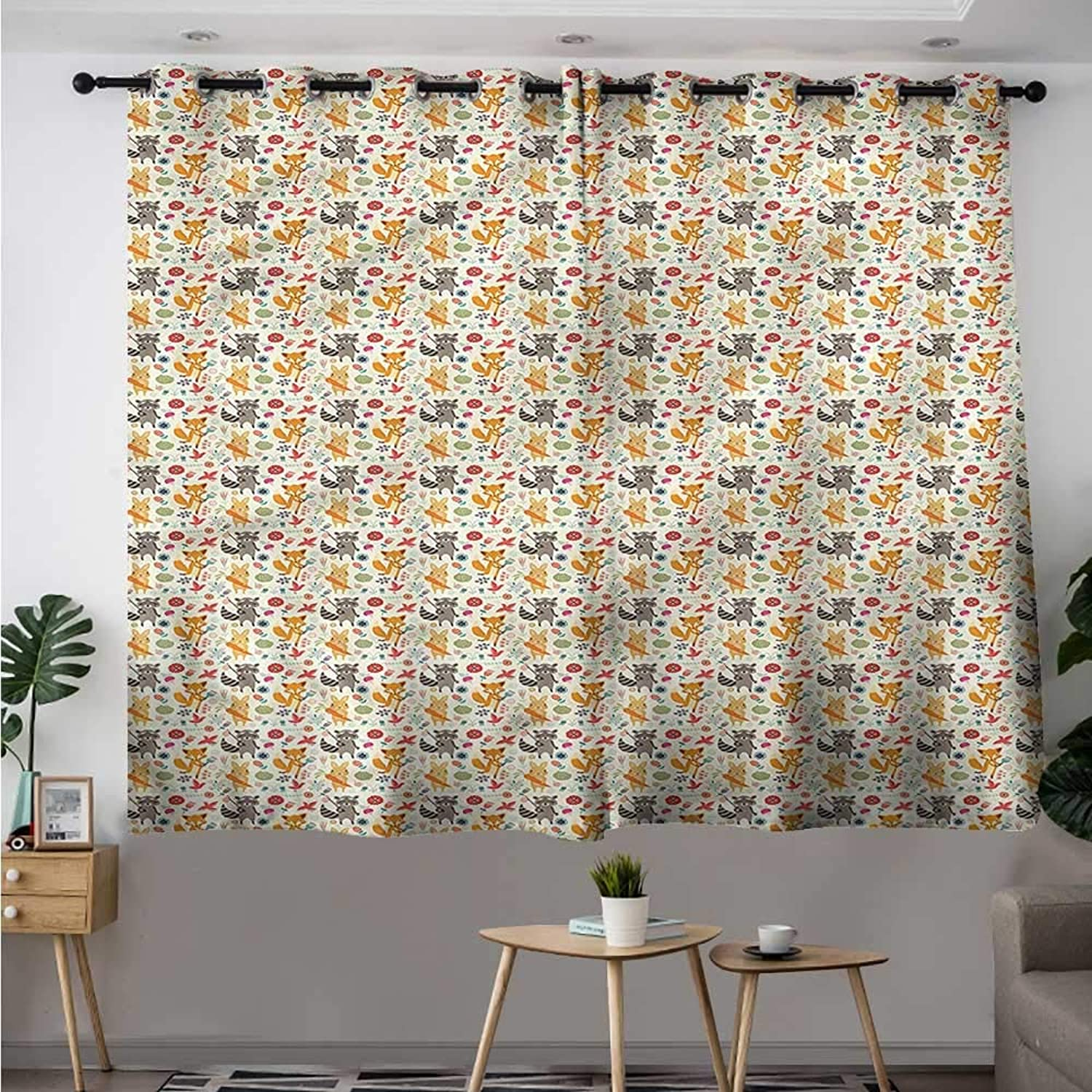 Forest Simple Curtain Happy Woodland Critters Kids Room Darkening, Noise Reducing W 55  XL 45