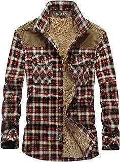Hombres Camisas Casual,Chaqueta de Transición a Cuadros,Camisa Térmica Invierno Camisa de Cuadros Leñador,Camisas Manga La...