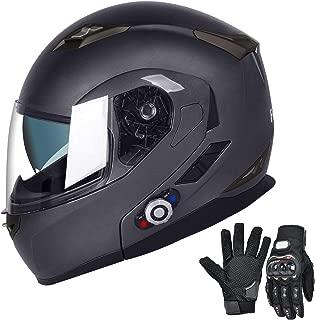 FreedConn Bluetooth Motorcycle Helmets Speakers Integrated Modular Flip up Dual Visors Full Face Built-in Bluetooth Mp3 Intercom headset Communication Range 500M (XL,Gray)