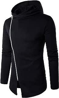 Men's Fashion Color Block Oblique Zipper Lightweight Hood Jacket Turtleneck Windbreaker Hoodie