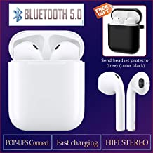 Bluetooth Earbuds Wireless Bluetooth Headphones Pop-ups Auto Pairing Buit-in Mic Noise-Cancelling in-Ear Headsets for Android/Apple of airpods and Airpod Sport Waterproof Wireless Earphones