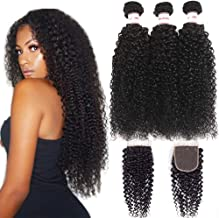 Mermaid 8A Brazilian Kink Curly Virgin Hair Weave 3 Bundles With Closure 100% Unprocessed Curly Human Hair With Free Part Lace Closure Natural Color (16 18 20+14 Free Part)