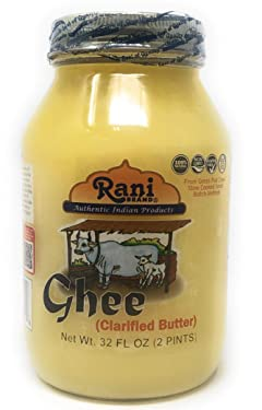 Rani Ghee Pure & Natural from Grass Fed Cows (Clarified Butter) 2lbs (32oz) ~ Glass Jar   Paleo Friendly   Keto Friendly   Gluten Free   Product of USA