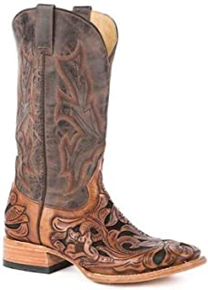 Men's Stetson Wicks Boots Hand Tooled Square Toe Handcrafted