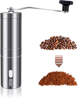Great for Travelling ILamourYou Stainless Steel Manual Coffee Grinder,Cutting-Edge Conical Ceramic Burr,Guaranteed Consistent Grind
