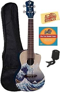 Luna Great Wave Concert Ukelele Bundle with Gig Bag, Tuner, Austin Bazaar Instructional DVD, and Polishing Cloth