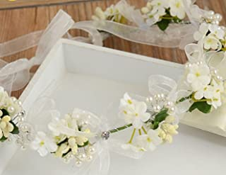 Bohemian Flowers Pearl Garland Bridal Wedding/Sweet Sixteen/Flower Girl/Quinceanera Crown Headdress (Ivory Flowers)