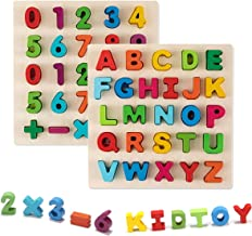 Learning Board Toy Wooden Puzzle Alphabet Upper Case & Number