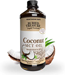 Buried Treasure MCT Coconut Oil for Healthy Brain Function Increased Performance, Keto and Paleo Diet Safe Flash Steamed M...
