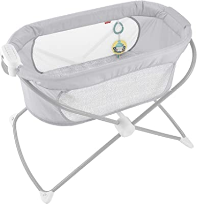 Fisher-Price Soothing View Vibe Bassinet – Hearthstone Folding Portable Baby Cradle for Newborns and Infants, Gray