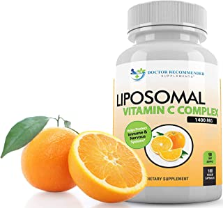 Liposomal Vitamin C 1400mg Per Serving - 180 Veggie Capsules High Absorption Ascorbic Acid, Lypo-Spheric Vi...