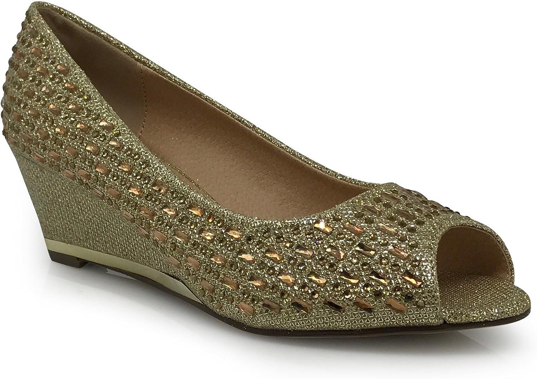 Enzo Romeo Sicily16 Womens Open Toe Low Heel Wedding Rhinestone Wedge Sandal shoes
