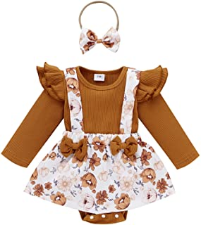 Newborn Infant Baby Girl Ruffle Long Sleeve Ribbed T-Shirt Top Floral Suspender Shorts Headband Winter Clothes