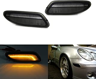 iJDMTOY Smoked Lens Amber Full LED Bumper Side Marker Light Kit For 2001-2007 Mercedes W203 C-Class Sedan, Powered by 30-SMD LED, Replace OEM Front Sidemarker Lamps