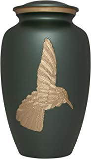 Green Hummingbird Funeral Urn - Cremation Urn for Human Ashes - Hand Made in Brass - Suitable for Cemetery Burial or Niche - Large Size fits Remains of Adults up to 90kg