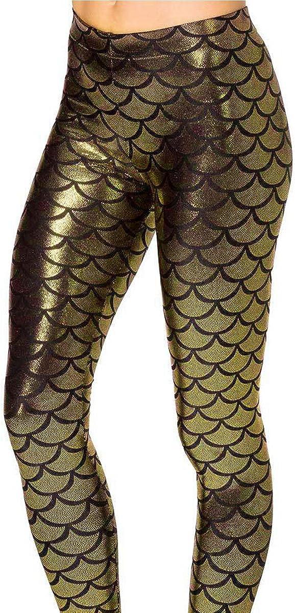 jntworld Women Sexy Mermaid Fish Scale Hologram Soft Shine Leggings