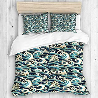 COVASA Duvet Cover Set, Nautical Area Rug Traditional Oriental Style Ocean Waves Pattern with Foam and Splashes Print, Decorative 3 Piece Bedding Set with 2 Pillow Shams