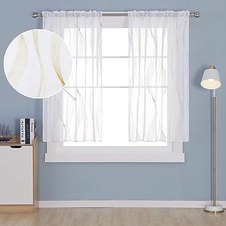deconovo lot de 2 rideaux voilage passe tringle motif lignes translucide salon moderne balcon rideau interieur cuisine chambre fille maison 140x245cm