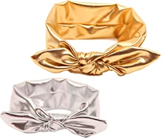 Baby Girls Bronzing Gilding Headband Floppy Metallic Messy Big Bows HeadWrap JA61