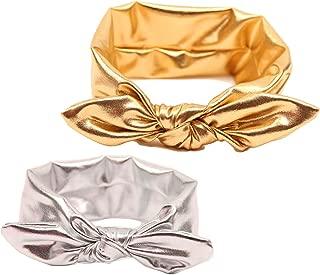 Baby Girls Bronzing Gilding Headband Floppy Metallic Messy Big Bows HeadWrap JA61